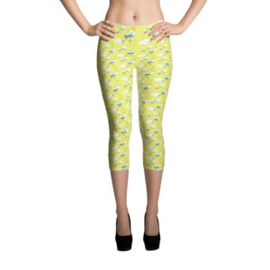 Capri Leggings – Birds Yellow