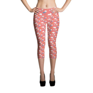 Capri Leggings – Birds Pink