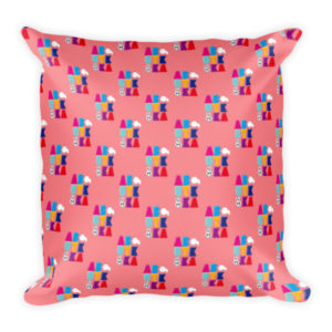 AboutKika Blockletters – Pink – Square Pillow
